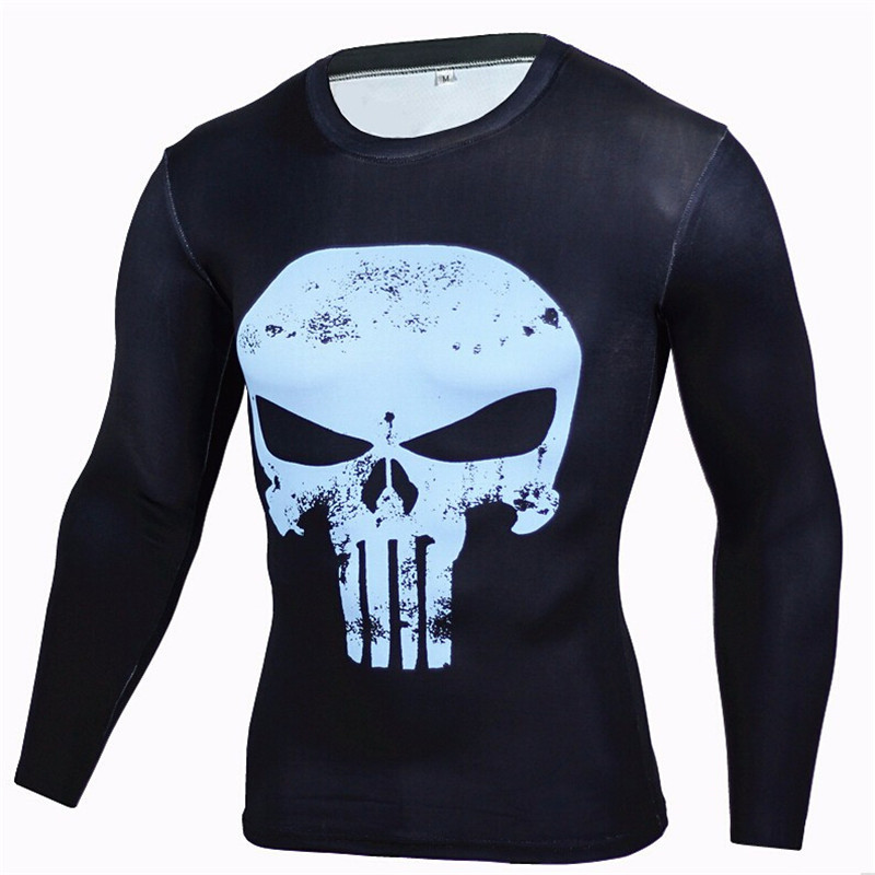 Superhero Anime Compression Men T-shirt Punisher Funny 3D Print T Shirt Long Sleeve Black Fitness Tshirt Tights Crossfit Tees