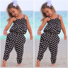 цена на Toddler Baby Girl Clothes Sleeveless Polk Dot Romper One-piece Playsuit Kids Girls Summer Harem Pants Suits