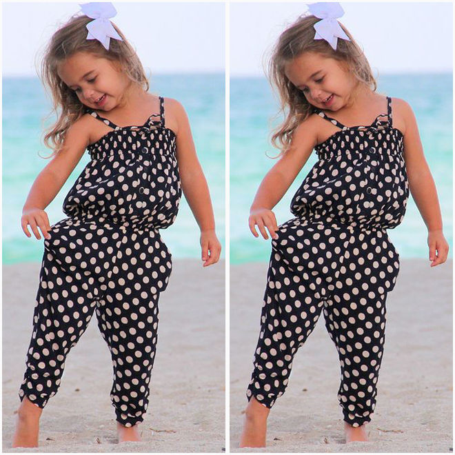 Toddler Baby Girl Clothes Sleeveless Polk Dot   Romper   One-piece Playsuit Kids Girls Summer Harem Pants Suits