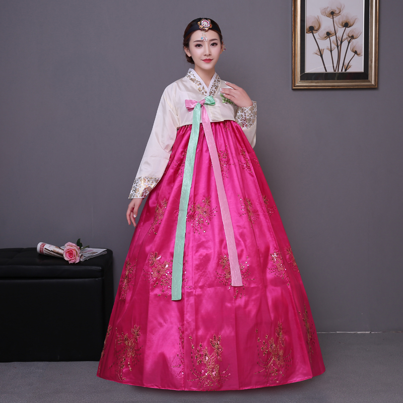 Blue Embroidery Korean Traditional Dress Pink Women Cotton Hanbok National Costume Stage Performance Aisa Clothing In Asia Pacific Islands
