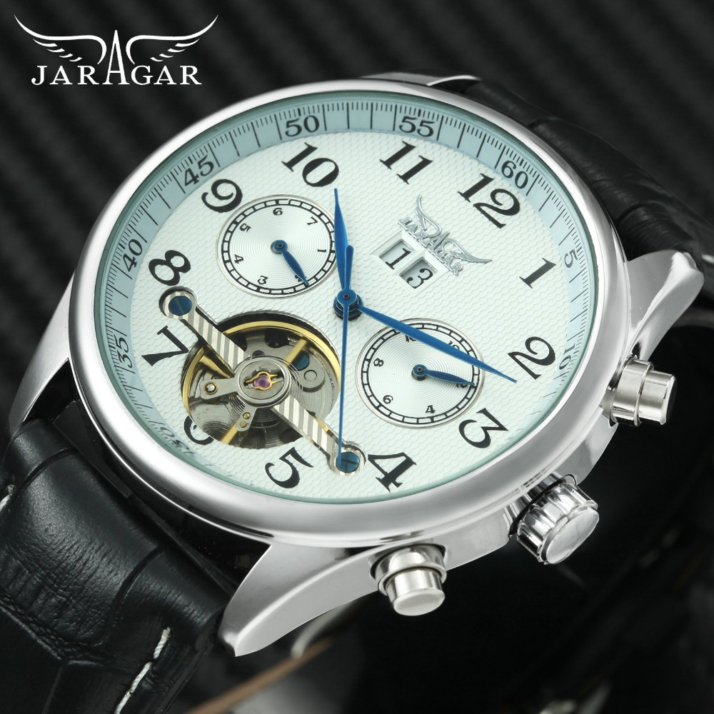 JARAGAR Fashion Auto Mens Watches Tourbillon Small Sub-dials Display Leather Watch Band Top Brand Luxury Mechanical Wrist Watch men women quartz watch leather band decorative small sub dials roman numeral scales
