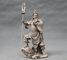 free shipping S0468 9″ China Silver Bronze Guan Gong Dragon Sword Door Guardian Statue