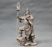 free shipping S0468 9″ China Silver Bronze Guan Gong Dragon Sword Door Guardian Statue