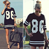 Women Short Sleeve Baseball T Shirt Dress Casual Summer Number 86 Print Long Black Tee Shirts