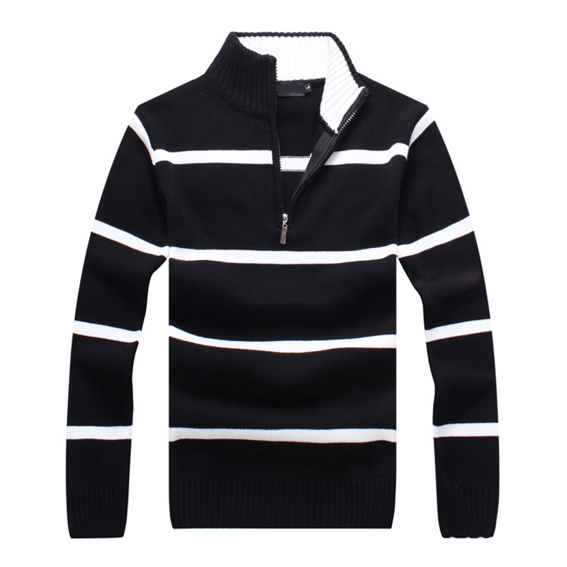 Fashion 2019 Long Sleeve Stand-collar Zipper Men's Striped Pullovers Sweaters Casual Mens Sweaters Mens Clothing Knitted Coats