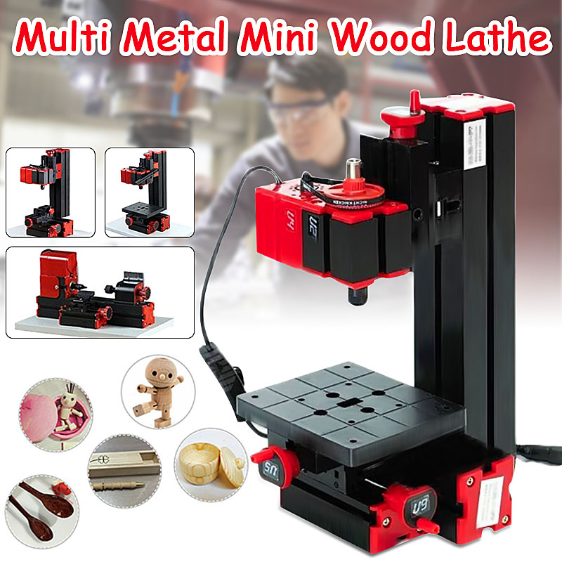 6 In 1 Multi Metal Mini Wood Lathe Motorized Jig-saw Grinder Driller Milling CNC Combined Machine DIY Tool 6 in 1 mini lathe milling drilling wood turning jag saw