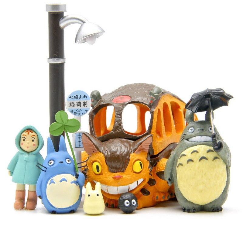 8pcs/lot Totoro figures toys 2016 New PVC Japanese Anime Satsuki Mei  Jicha car Chinchilla cat  bus коврик для ванной xin tong mei dtxy 1 pvc