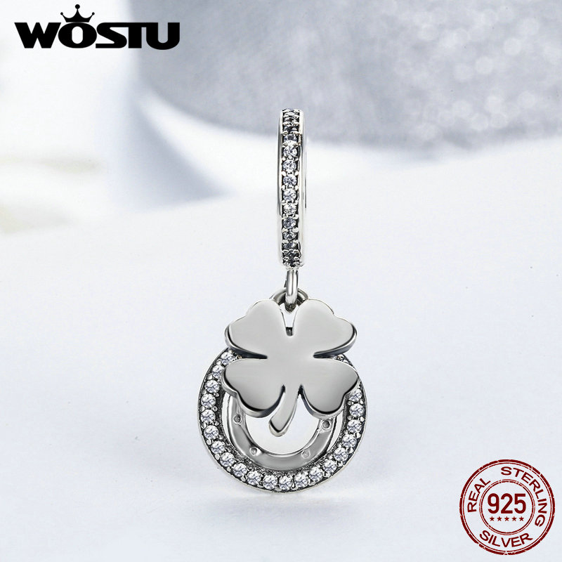 лучшая цена WOSTU Hot Sale 925 Sterling Silver Four-Leaf Clover & Horseshoe Lucky Day Beads Fit Original Charm Bracelet Jewelry FLC117