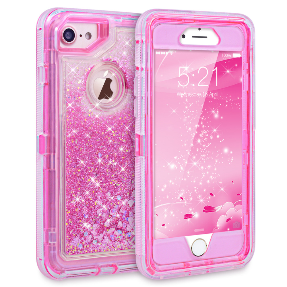 Grandever Case For iPhone 6 6s 7 8 Plus Case Bumper Hybrid Liquid Glitter Silicone Drop Protection Hard Pink For girls women