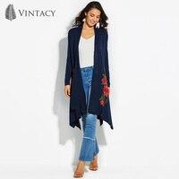 Vintacy Loose Cardigan Coat Women Blue Long Sleeve Asymmetrical Embroidery Sweater Warm Office Lady Flower Knitted