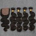 Малайзийские Волосы 8А класс Slove Волосы Необработанные 100% Человеческих Девственница объемная волна 4 расслоения с шелковой база закрытия 5 шт./лот свободный корабль