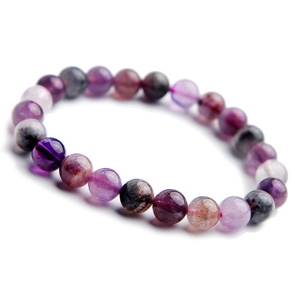 Genuine Colorful Natural Auralite 23 Bracelets Women Female Men Stretch Round Beads Cacoxenite Natural Stone Gems Bracelet