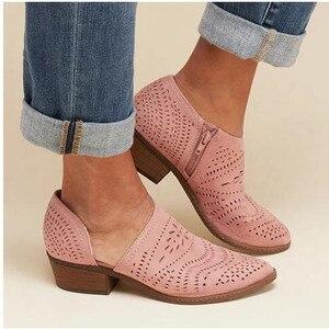 Image 2 - حذاء حريمي موضة 2020 صيفي وخريفي بكعب منخفض للنساء بوتات من الجلد الصناعي بفتحات للكاحل