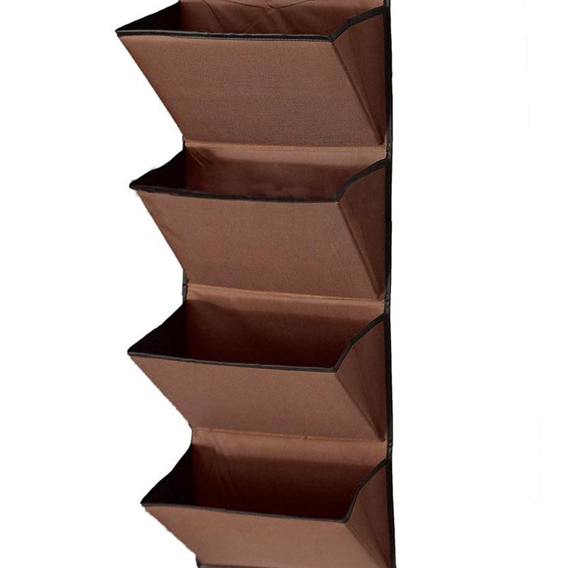 4 уровня стена двери висячие Органайзер для хранения стойку сумка ткань wardobe для обуви коричневый