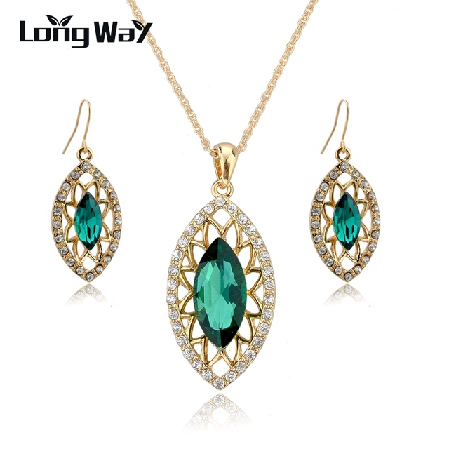 LongWay Gold Color Luxury Austrian Crystal Jewelry Set New Fashion Necklace Earrings Set For Women Green Jewelry Set SET140046