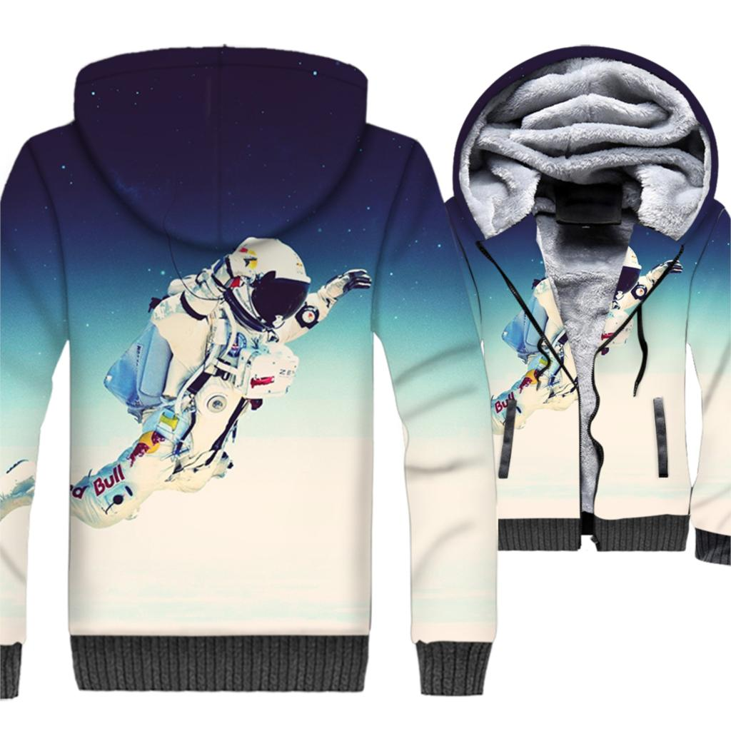 Adult Galaxy Space & Astronaut 3D Hoodies Men 2019 Winter Warm Thick Jackets Slim Fit Sweatshirts Hip Hop Streetwear For Fans