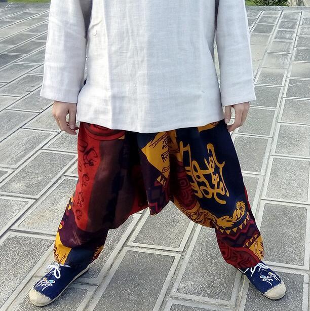 2016 Nueva Firma Algodón impresión pantalones bajo la entrepierna pantalones grandes entrepierna pantalones Sueltos flacidez de Nepal, los hombres y las mujeres bailan los pantalones