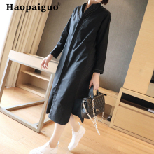 Loose Vintage Black Dress Women Turn-down Collar Midi Korean Shirt Dress Women Long Sleeve OL Work Office Dresses Women Sukienki korean kawaii black elegant dress long sleeve button turn down collar autumn dress women s xl sweet simple casual dresses ladies