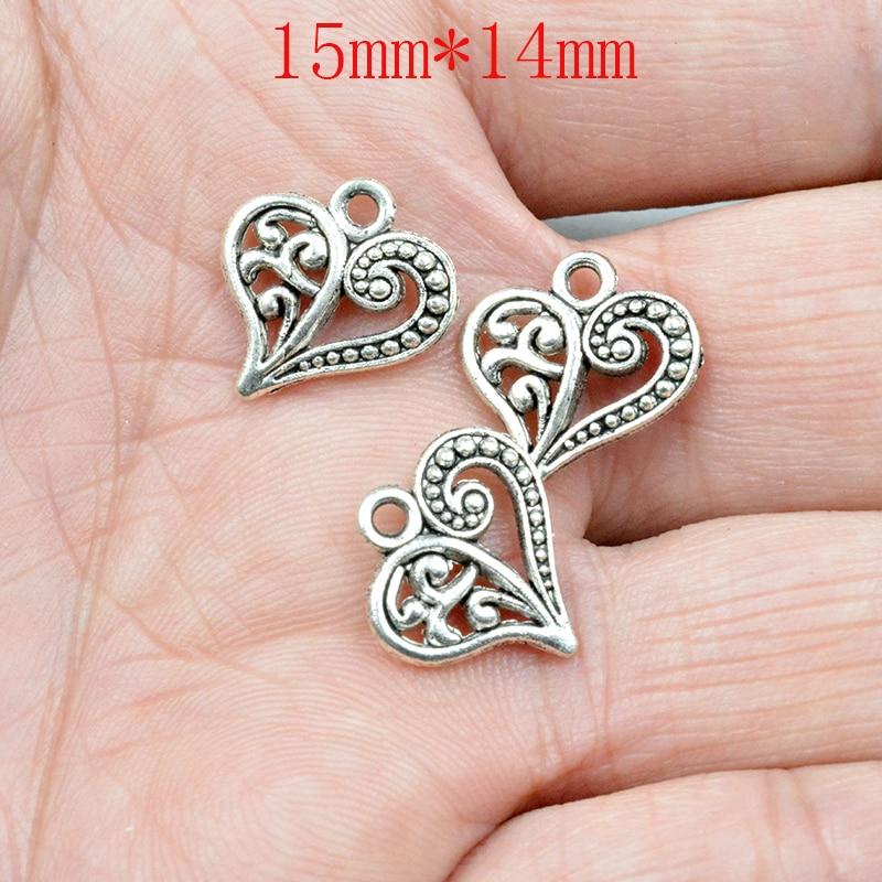 FLTMRH 10 шт. 15 * мм 14 мм маленькое сердце любви талисманы капли и подвески для цепочки ожерелья Jewelry поделки, рукоделие Bedels