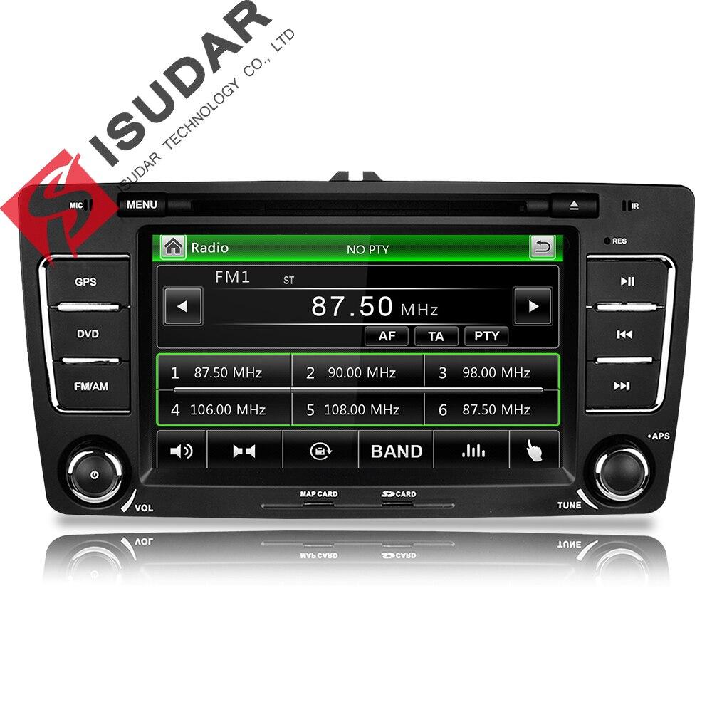Isudar Voiture lecteur multimédia GPS 2 Din Pour Octavia/SKODA Canbus Bluetooth Ipod Radio RDS WIFI USB SD cache de volant Contrôle DVR