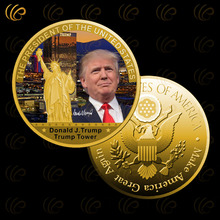 24k 999.9 gold plated Donald trump gold coin trump tower design gold foil metal coin for best gifts