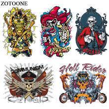 ZOTOONE Iron On Skull Bike Patches for Clothing Heat Transfer For Clothes Stickers DIY T-shirt Applique Punk Rock Patch E