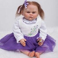 2016 хлопок тела Reborn младенцев прекрасная мода принцесса куклы силиконовые Reborn девочек игрушки подарок на Новый год новорожденных Brinquedos