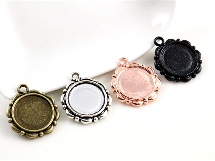 15pcs 14mm Inner Size Antique Bronze And Silver ,Rose Gold  Black Flower Style Cabochon Base Cameo Setting Charms Pendant15pcs 14mm Inner Size Antique Bronze And Silver ,Rose Gold  Black Flower Style Cabochon Base Cameo Setting Charms Pendant