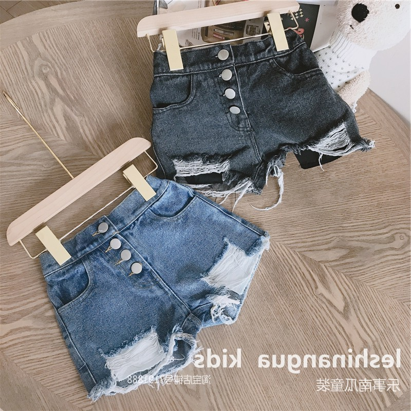 Girl Jeans Shorts Fashion New Baby Girl Button Fly Design Denim Shorts Kids Casual Broken Hole Pants Girls Stretch Ripped Jeans 1