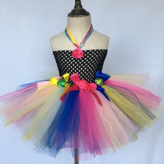 Mädchen Schwarz Tutu Kleid Baby 2 Schichten Fluffy Tüll Kleid Häkeln
