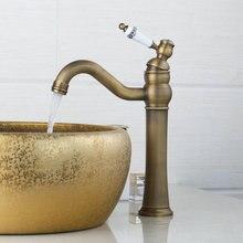 Античная латунь поворотный бортике для ванной кран Керамическая одной handlebrass умывальник кухонный кран Torneira, смеситель
