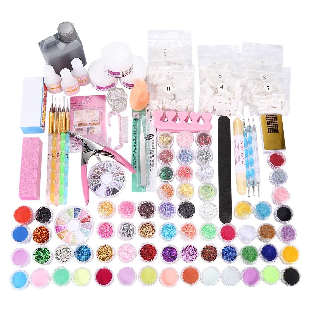 Pro Acrylic Power Manicure Nail Kit Acrylic Tips Cutter Clip Glitter Rhinestones File Brush Manicure Nail