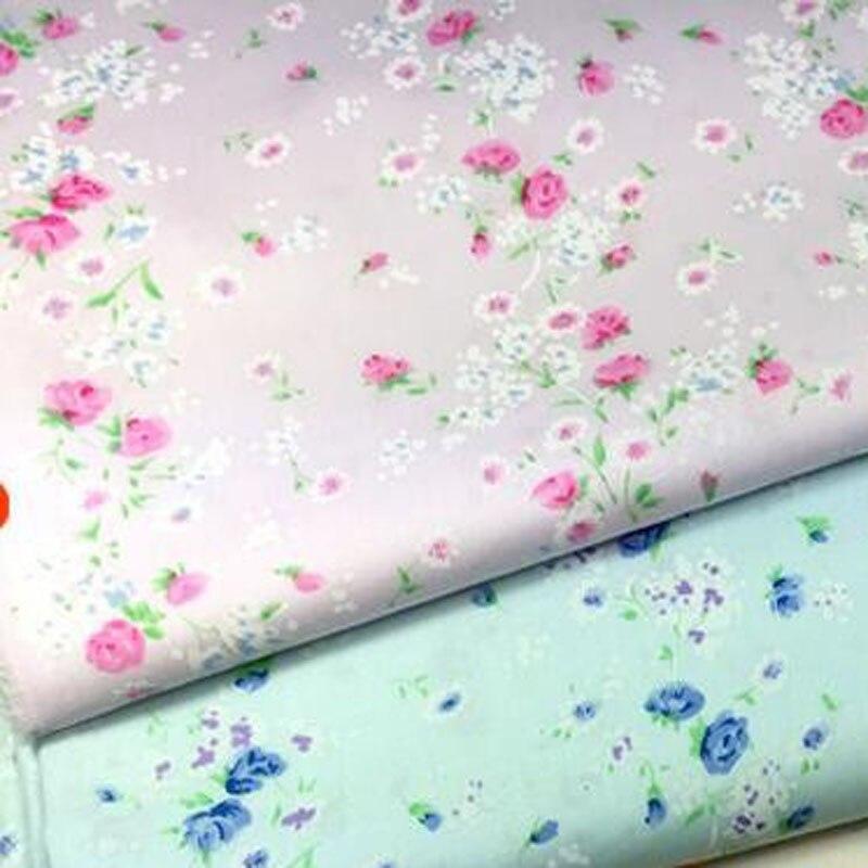 ᗚPretty 40x50 cm rosa y azul Blooming flores pequeñas Telas para ...