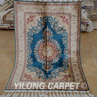 Yilong 3.4'x5.2' Antique tabriz silk carpet exquisite discount blue silk persian rugs (1752)