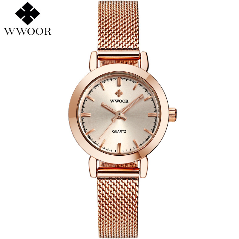 все цены на Luxury Women's Watches Ladies Casual Wristwatch Rose Gold Quartz Watch Women Famous Brand WWOOR Simple Small Clock Montre Femme онлайн