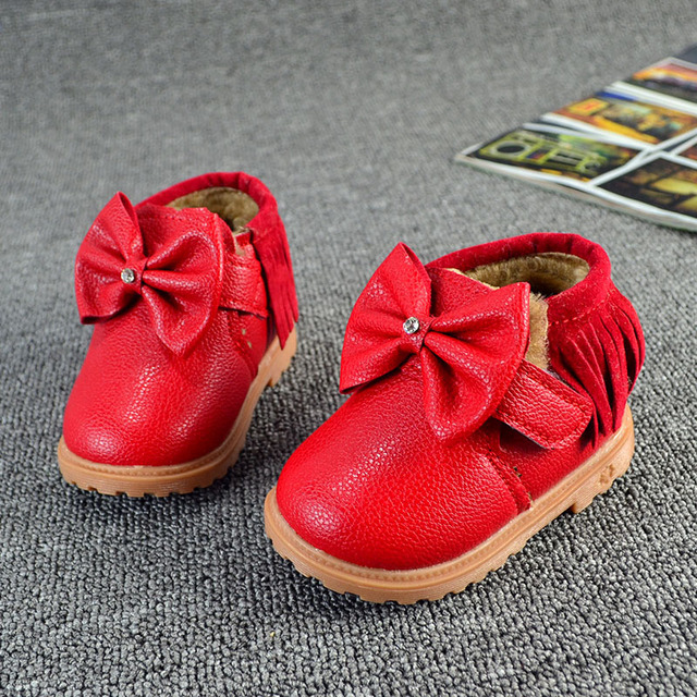 Baby Winter Boots Solid Color Cute Bowknot Tassels Design Infant Warm Shoes Princess Girls PU Leather First Walkers Shoes