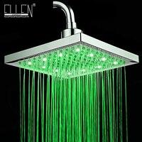 LED Square Shower Head 8 Rain Shower Light Change Power From Water Flow 3 Color Shower