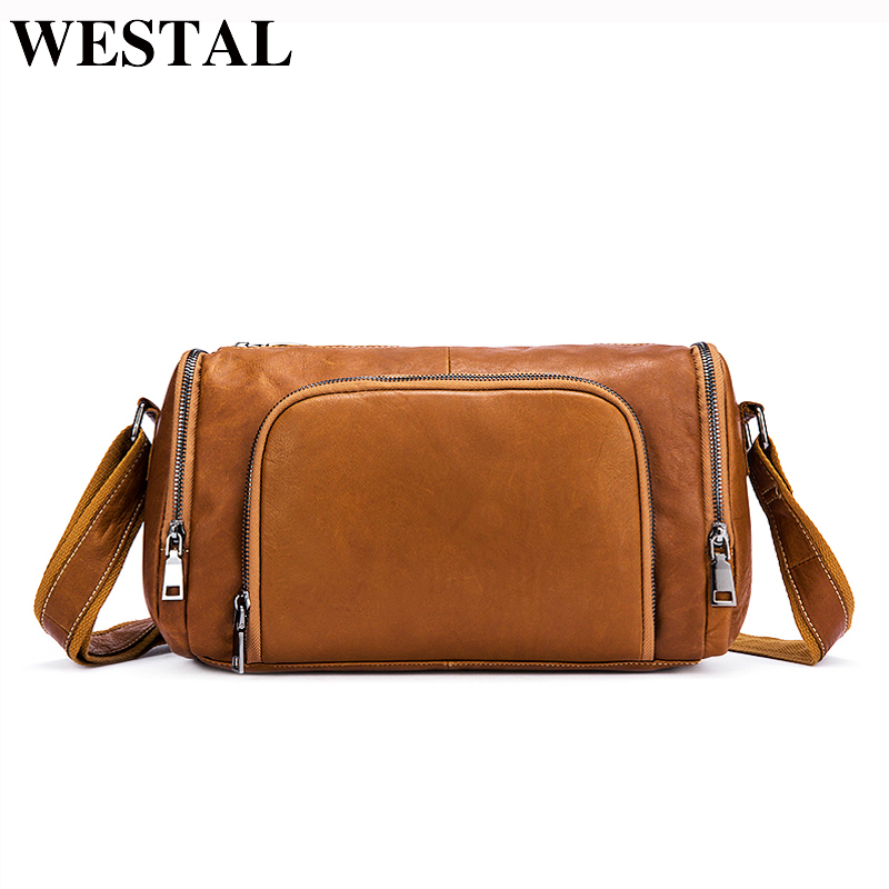 976bbaa3e564 WESTAL сумка Мужская Натуральная кожа Мужская сумка на плечо модная мужская  кожаная сумка сумки через плечо