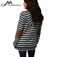 Avodovama M New Blouses Sweatshirt Women Fashion Spliced Stripes Casual Black Color Pullovers Plus Size S