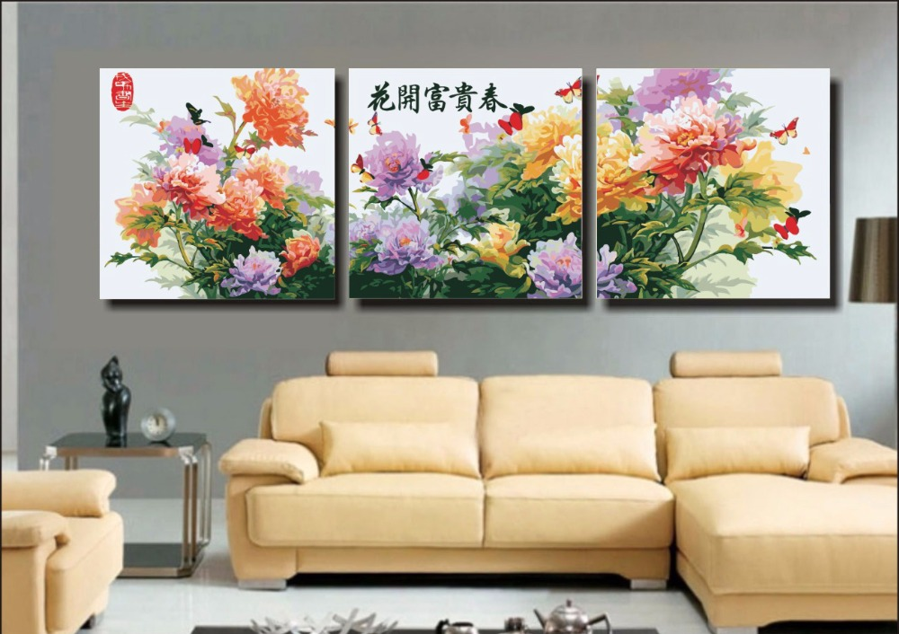 3 piece Large Frameless DIY Painting By Numbers Flowers Canvas Oil Paintings Coloring Wall Painting Art Picture Home Decor