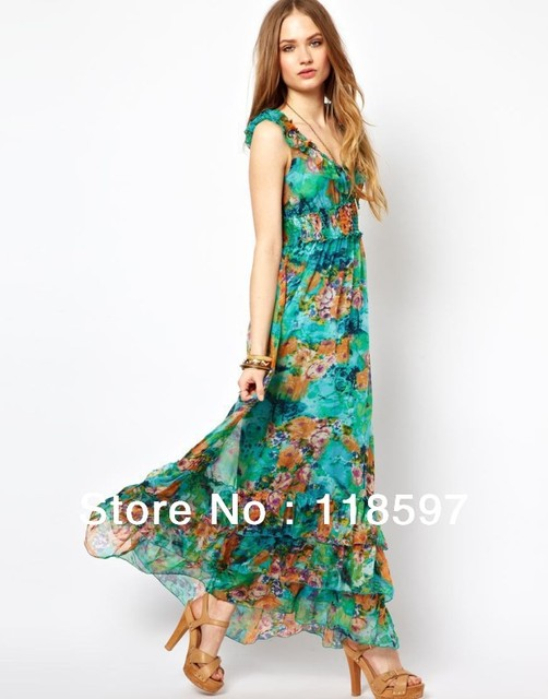 free shipp!!!Euro and the United States women's 2013 summer new Floral Chiffon Skirt Dress Sexy Beach V brought great long skirt