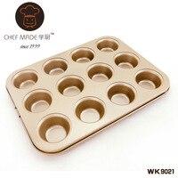 12 Cuadrículas Mini Muffin Copas Moldes de Cartón de Acero Inoxidable antiadherente Para Hornear Molde Para Muffins RES607