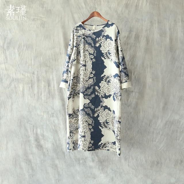 52258b006b 3 Colors Vintage Beautiful Floral Print Long Loose Women Cotton Linen  Dress