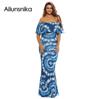 Ailunsnika Off The Shoulder Maxi Dresses Summer 2017 Holiday Party Navy Blue Roses Print Gowns Vestido