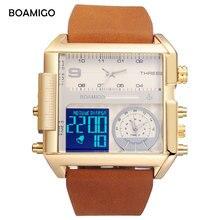 BOAMIGO brand men 3 time zone watches men sports digital watches 2017 leather rectangle quartz wristwatch waterproof gift clock