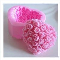 Free shipping Rose heart shape Modelling fondant silicon mold chocolate cake decoration silicone mold Soap Mold