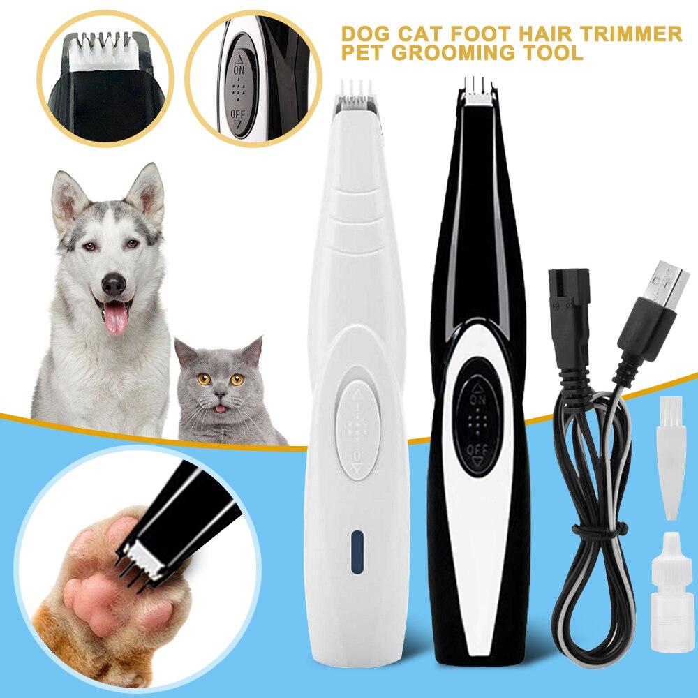 Chien chat ongles cheveux tondeuse broyeur outil de toilettage pour animaux de compagnie électrique cisaillement Cutter USB Rechargeable chien coupe de cheveux patte rasoir tondeuse