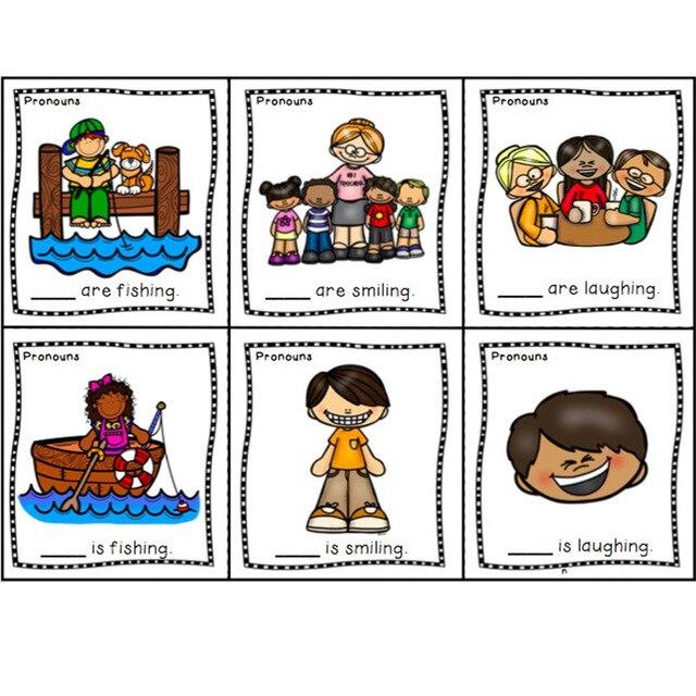 16Pcs/Set English Pronouns he she they it Blank Card Word Flash Card