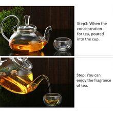 Clear Glass Heat 800ml  Resistant Teapot / Infuser Flower Green Leaf Tea Pots