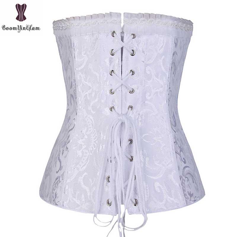 e4702fa3f22 Lace Up Floral Jacquard Corset Overbust Gothic Korse Plus Size 6XL Korset  Steel Boned Korsett For